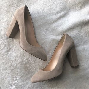 J Crew Stella Suede Nude Chunky Heels | Size 7